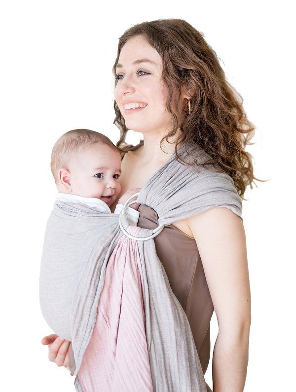 Mebien Baby Ring Sling Carrier Rose-Gray