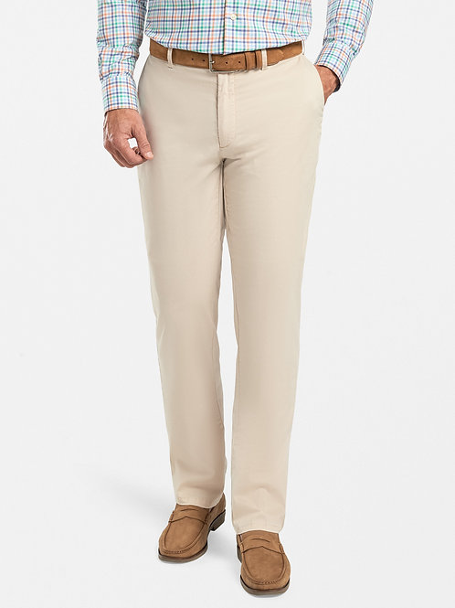 Peter Millar Crown Soft Flat-Front Trousers- Stone