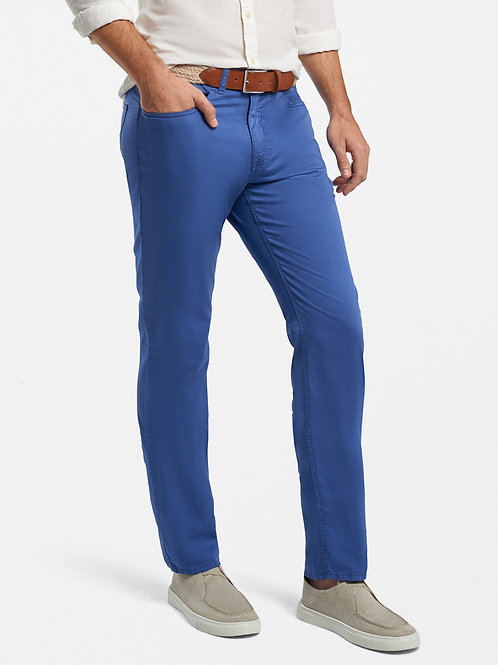 Peter Millar Broken Twill Cotton-Blend Five-Pocket Pant- Atlantic Blue