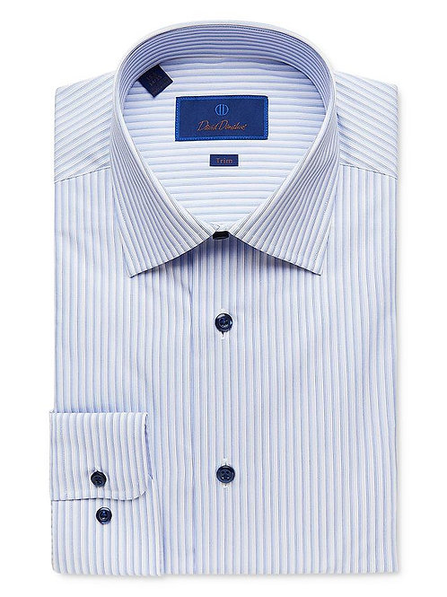 David Donahue Blue Striped Dress Shirt