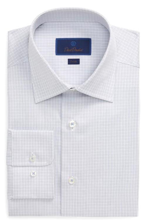 David Donahue Blue Plaid Dress Shirt