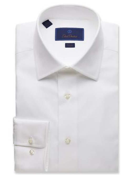 David Donahue Royal Oxford Dress Shirt- White