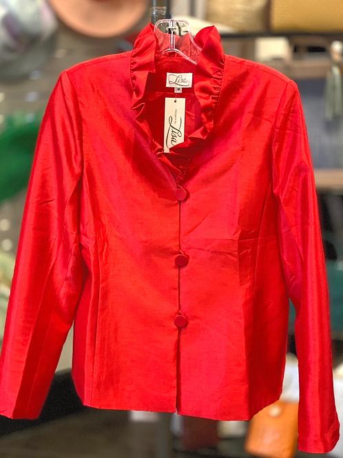 Lisa Ruffled Neck Jacket- Red