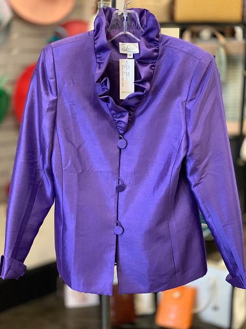 Lisa Ruffled Neck Jacket- Purple