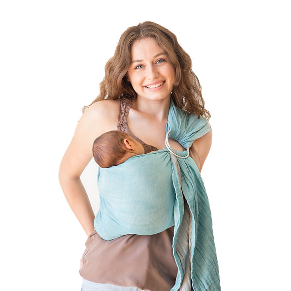 Mebien Baby Ring Sling Carrier Tuquoise-Gray