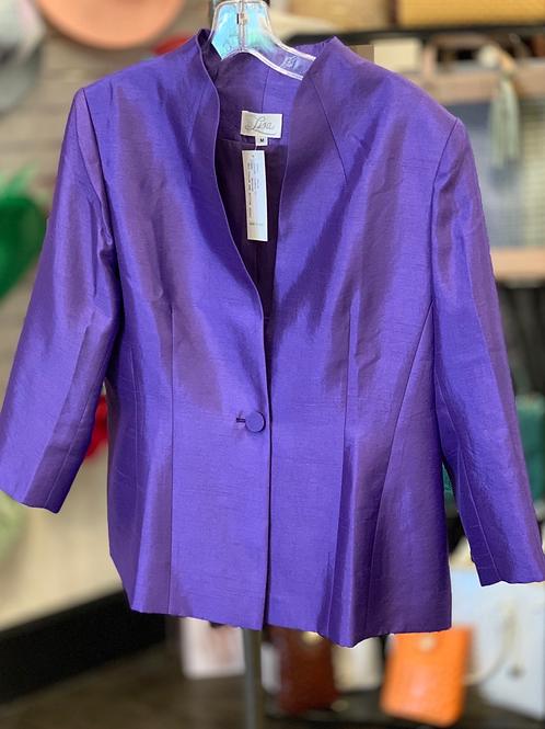 Lisa Self Collar Jacket- Purple