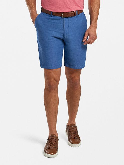 Puppytooth Linen-Cotton Shorts-Blue