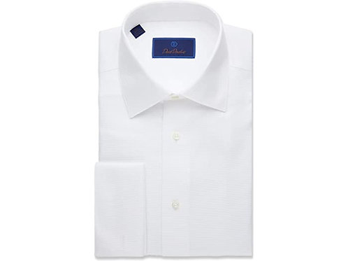 David Donahue White Collar French Cuff Formal Shirt