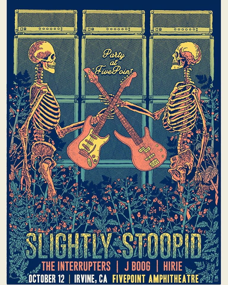 Artwork image depicting 2 skeletons holding guitars with show information and band names Slightly Stoopid and show date and location.