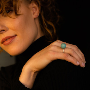 Silver ring with mattet amazonite