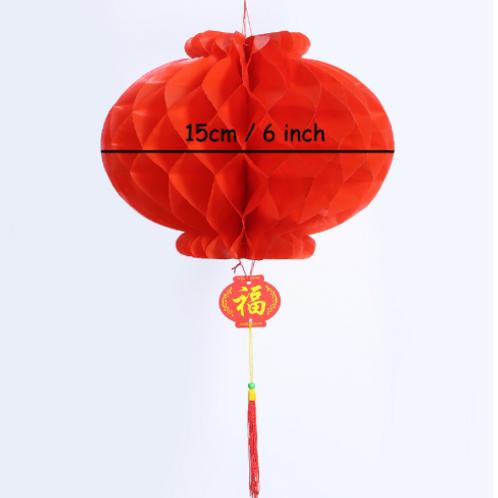 Lampion papírový červený 15cm/ typ harmonika