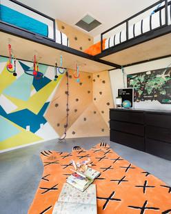 Lofted rockwall bedroom