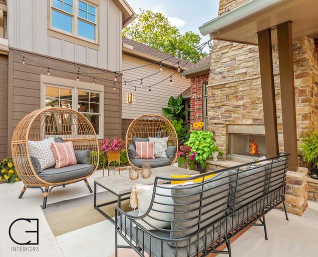 Poolside patio area