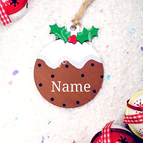 Personalised Christmas Pudding Hanging Bauble