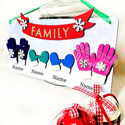 Family Christmas Gloves Plaque