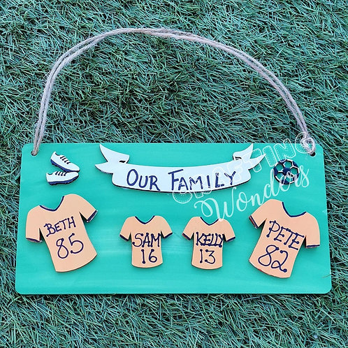 Family Football Shirt Plaque