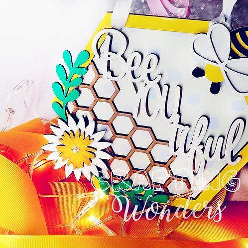 Bee-you-tiful hexagon bee hanging plaque