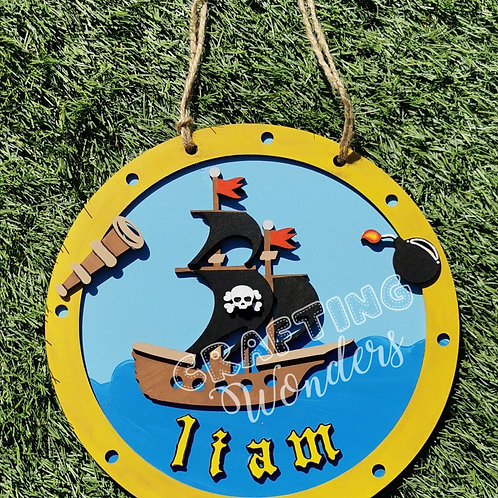 Pirate Ship Hanging Plaque