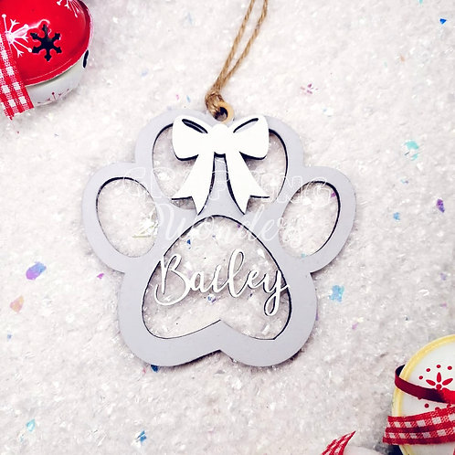 Personalised Pet Paw Print Christmas Hanging Bauble