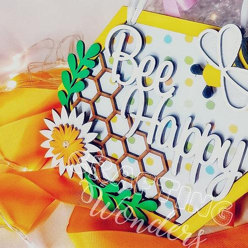 Bee happy hexagon hanging plaque