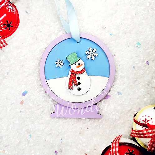Snowman snow globe bauble