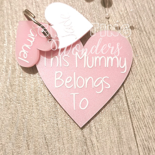 Pearl pink heart mother's day keyrings