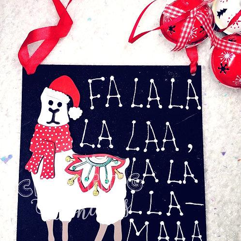 Llama christmas plaque