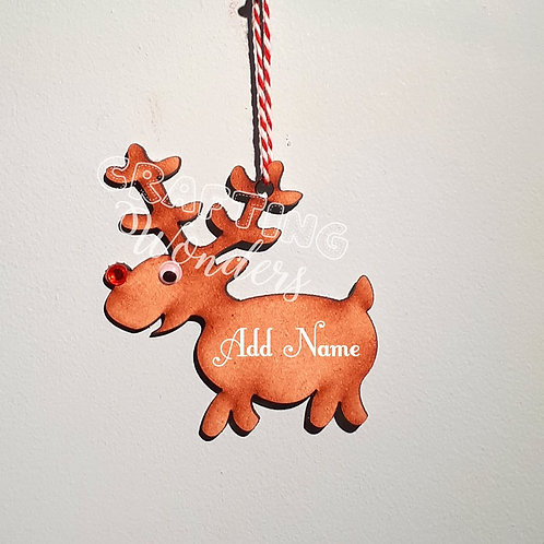 Oak Veneer/ MDF Reindeer Decoration