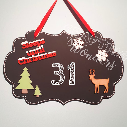Countdown to christmas chalk plaque