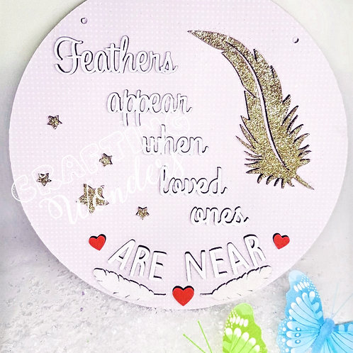 Feathers appear quote hanging plaque