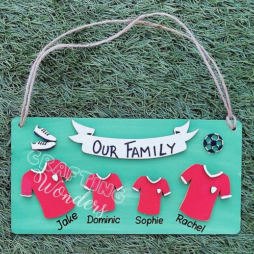 Family Football Shirt Plaque