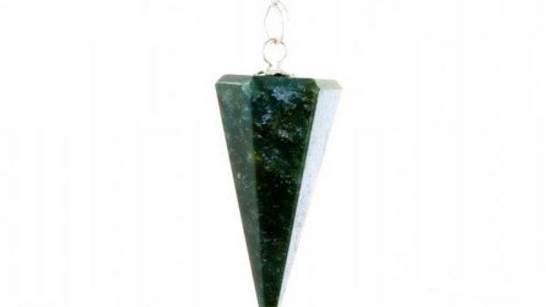 Laverne - Agate, Moss Faceted  Cone Pendulum