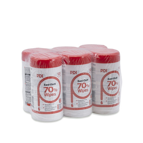 PDI Sani-Cloth 70% Alcohol Wipes | 125 Wipes Per Canister (Case of 6)