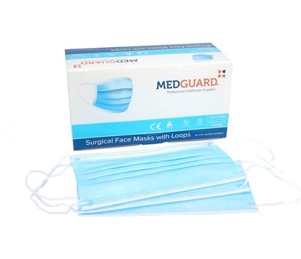 3 Ply Surgical Face Mask Blue with Ear Loops - Type IIR (50)