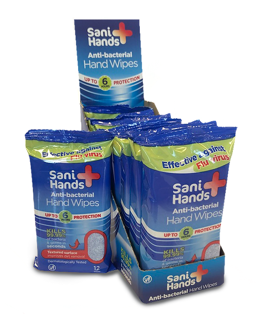 Case of Sani Hands Anti-bacterial Hand Sanitiser Wipes (10 packs per case)