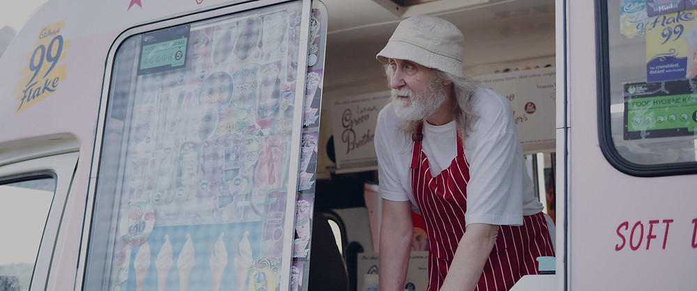 Mick Fryer-Kelsey playing the Ice Cream Man in short film Sylvia