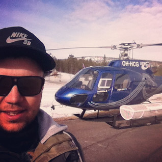 Playing in helicopters over Lapland at t