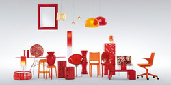 Ambiance rouge orangé Kartell