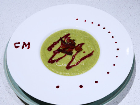CLASSIQUES CUISINE: CELERIAC & GREEN PEA SOUP WITH SPICY BLACKBERRY AIOLI