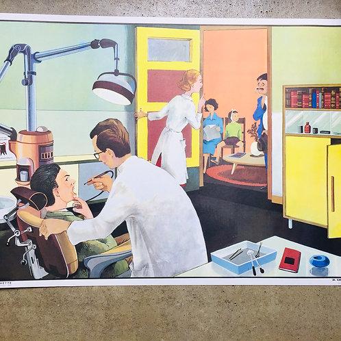 """Affiche """"Chez le dentiste/La poste"""""""