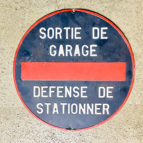 Panneau garage ancien
