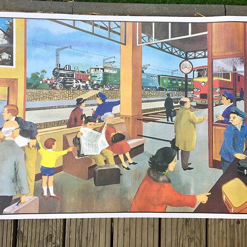"""Affiche pédagogique """"la gare/La ferme"""""""