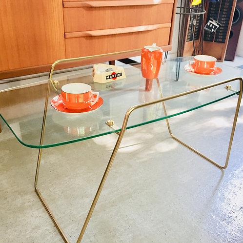 Table basse dorée/plateau verre