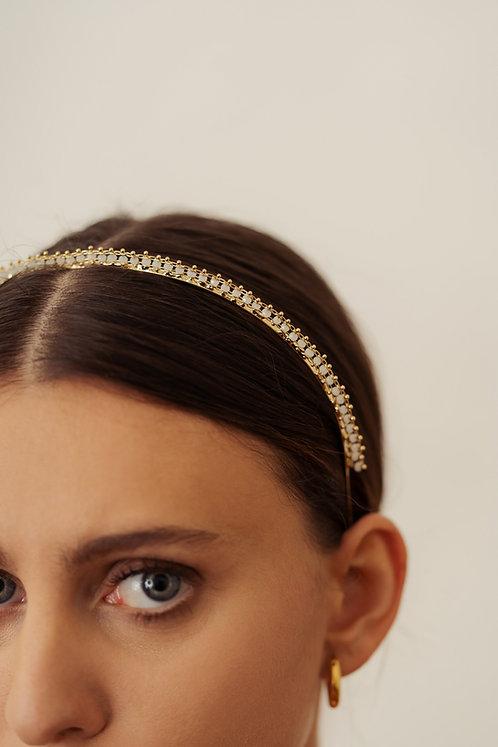 Gold Glory Headband - White