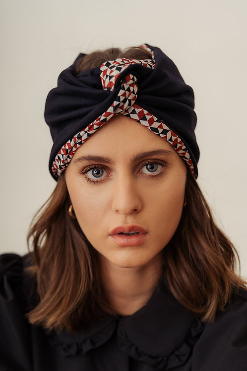 Turban Headband - Blue navy and geometric colorful