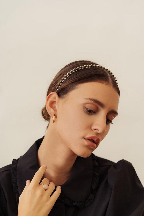Gold Polar Headband - Teal Satin