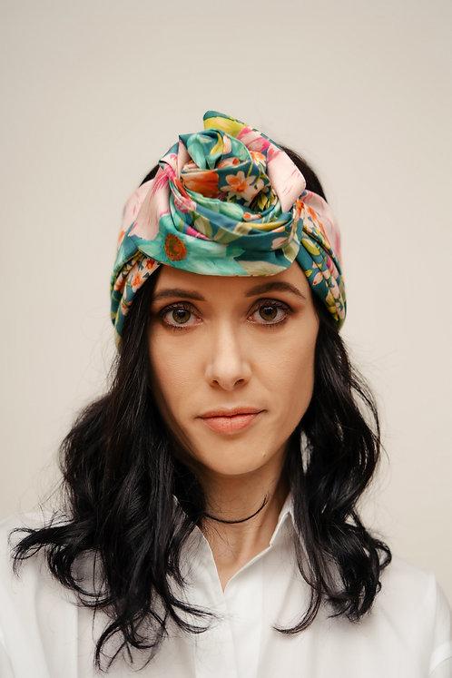 Turban Headband - Turquoise Floral