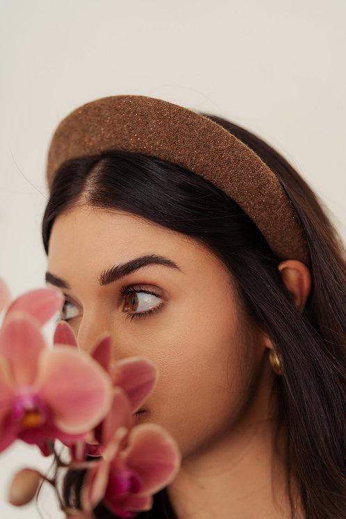 Kate Padded Headband - Brown e Bronze Lurex