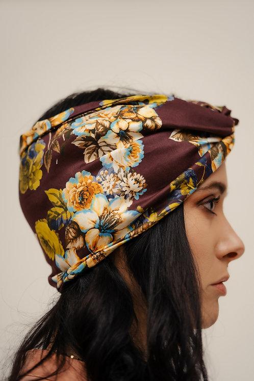Turban Headband - Burgundy Floral