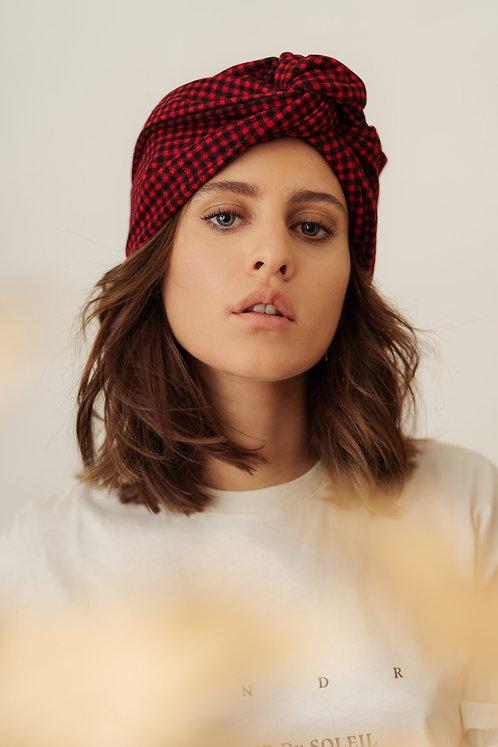 Turban Headband - Red and Black Vichy